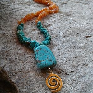 Jewelry - Sterling silver Turquoise and Carnelian NECKLACE